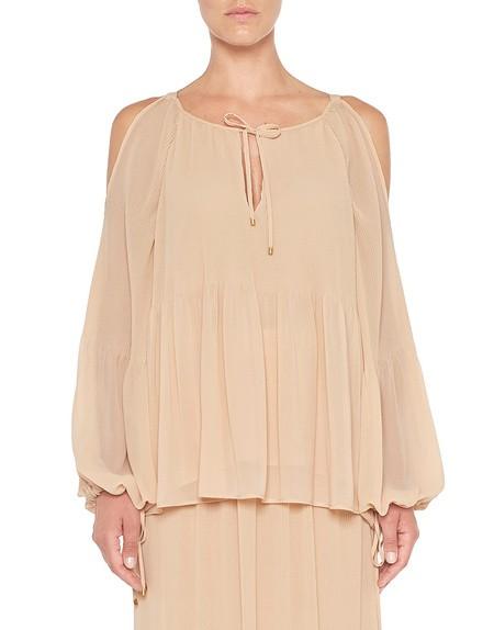 Bluse aus plissiertem Chiffon mit Schlaufen