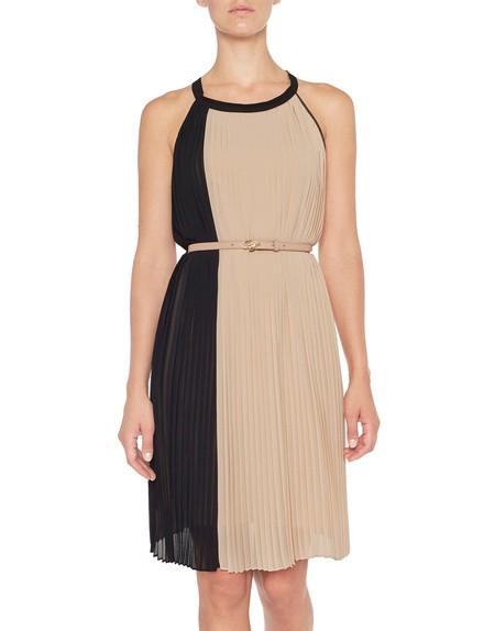 Платье из двухцветного плиссированного шифона