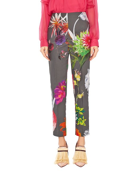 Pantalón de algodón con estampado de flores