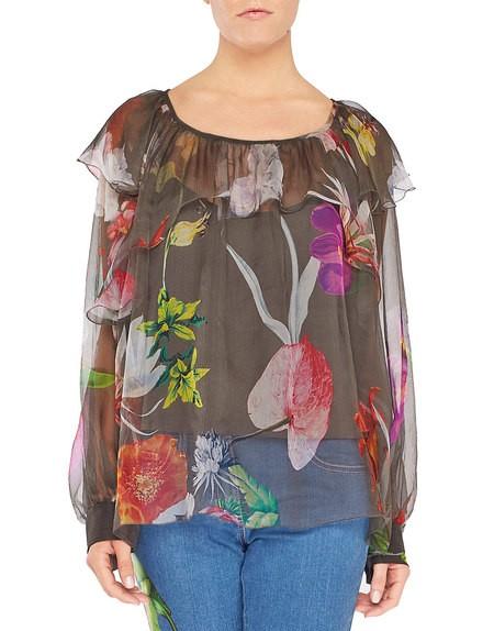 Blusa de chiffon con estampado de flores