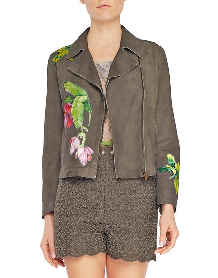 Nappa Leather Biker Jacket with Flowers