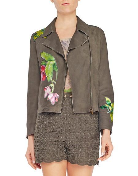 Куртка-косуха из наппы с цветочными аппликациями