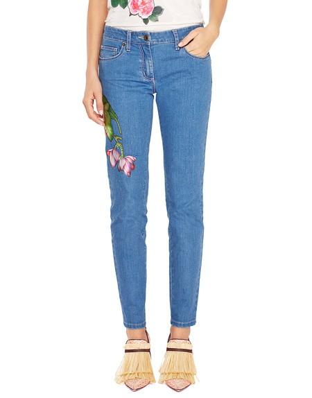 Skinny-Jeans im Five-Pocket-Stil mit Blumen
