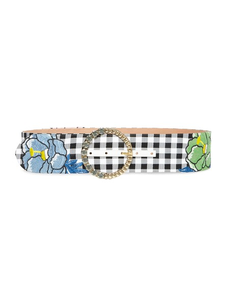 Vichy Fabric Belt With Flower Embroidery