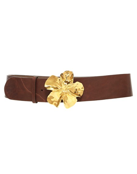 Leather Belt With Flower Buckle