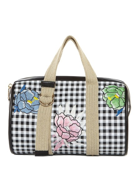 Vichy Boston Bag With Flower Embroidery