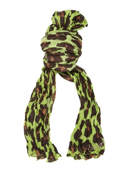 Pleated Silk Animal Print Scarf