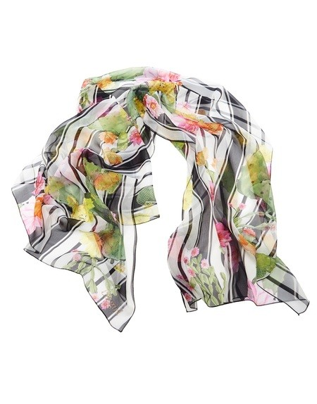 Stripe and Cactus Print Silk Stole