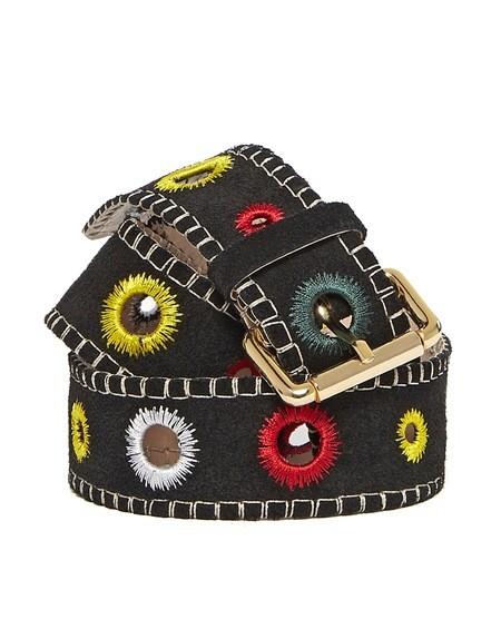 Cinturón bordado de gamuza