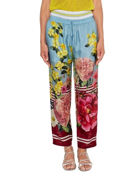 Flower and Stripe Print Silk Trousers
