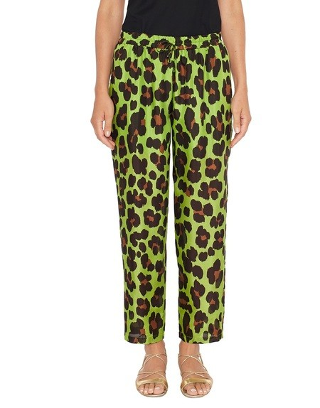 Pantalón de seda con estampado animal