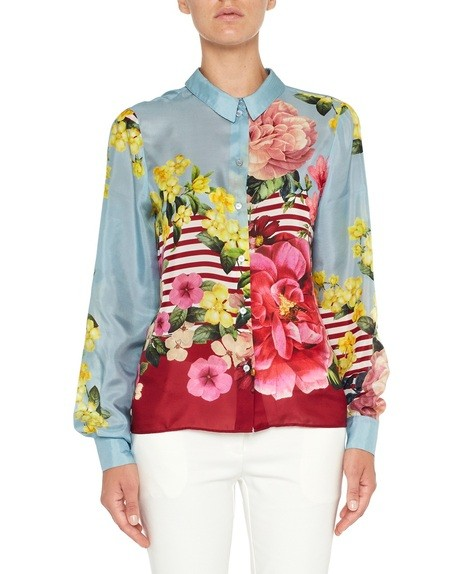 Flower and Stripe Print Silk Shirt