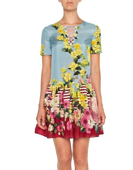 Flower and Stripe Print Silk Dress