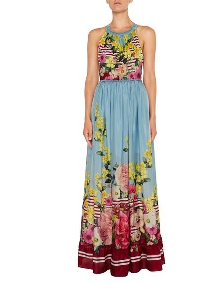 Langes Kleid aus Seide mit Blumen- und Streifenprint