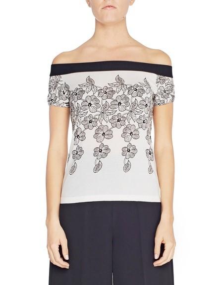 Kurzarm-Pullover mit Blumenprint