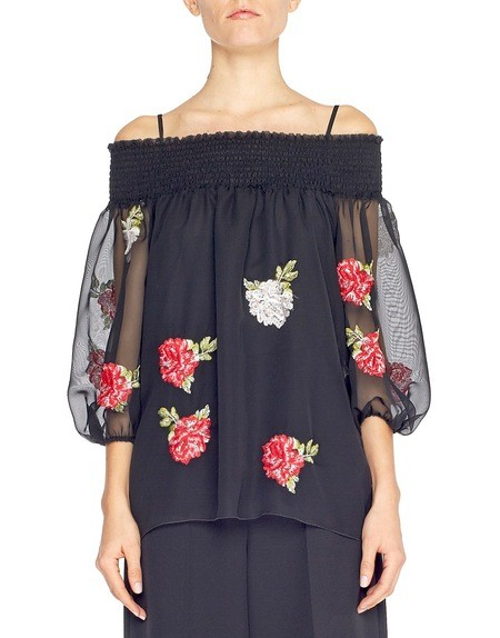 Embroidered Rose Chiffon Blouse
