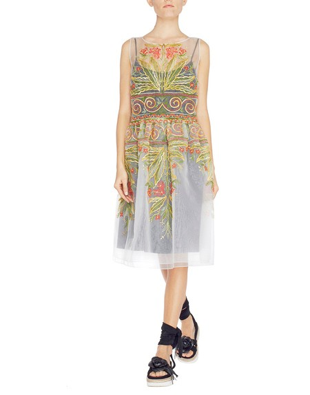 Organza Dress With Ethnic Embroidery
