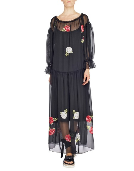 Long Chiffon Dress with Embroidered Roses