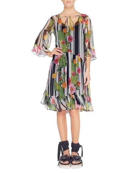 Kleid aus Seide mit Streifen- und Kaktusprint