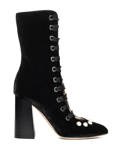 Velvet Lace-up Ankle Boot