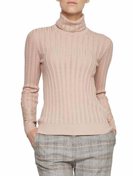 Gerippter Pullover Mit Spitze