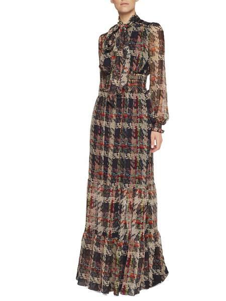 Vestido De Seda Con Estampado Trenzado
