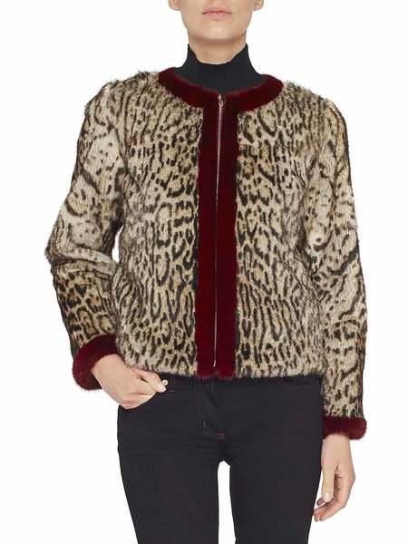 Abrigo De Piel De Marmota Con Estampado De Leopardo