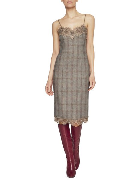 Check Print Flannel Dress-Slip