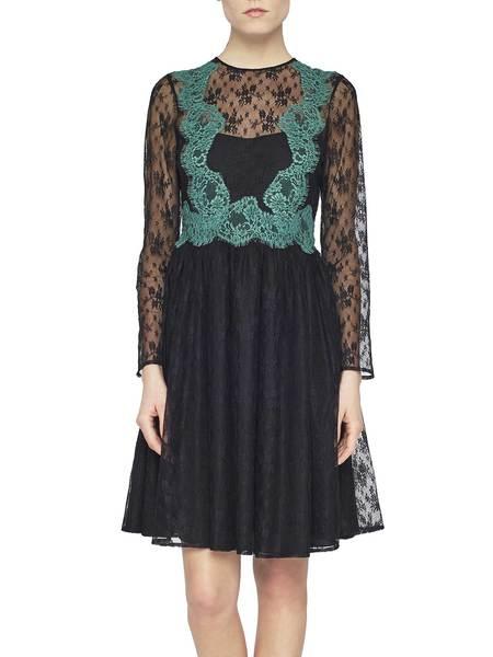 Kleid Mit Kontrastspitze