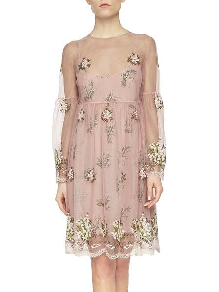 Tulle Dress With Lily Of The Valley Embroidery - pink - 1 ...
