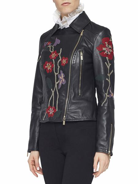 Leather Biker Jacket With Embroidery