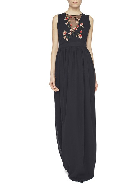 Long Chiffon Dress With Embroidery