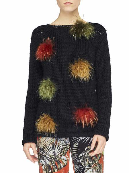 Jumper With Fur Pompom