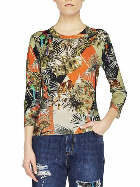 Pull Avec Imprimé Jungle Patchwork