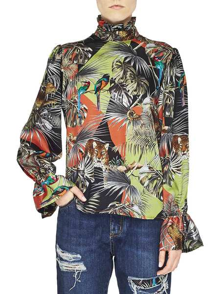 Camisa De Sarga Con Estampado Tropical Patchwork