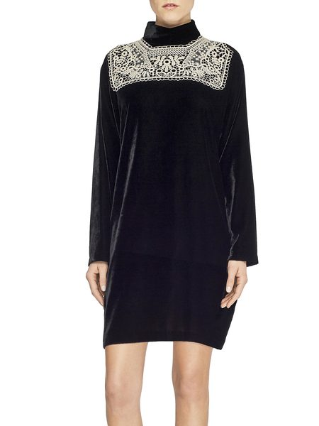 Velvet Dress With Lace Plastron