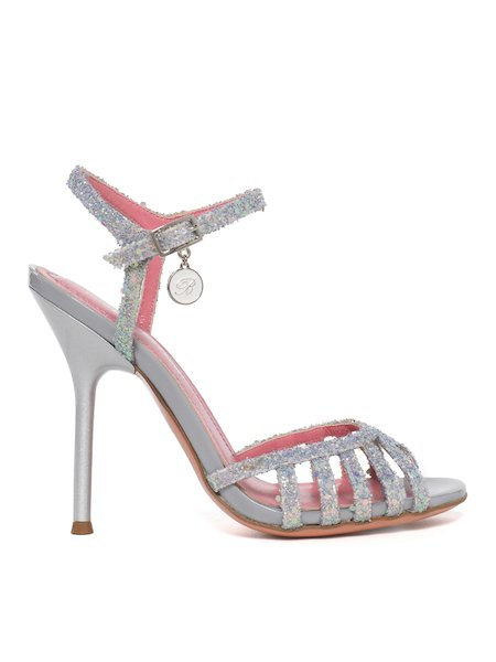 Glitter sandals with stiletto heel