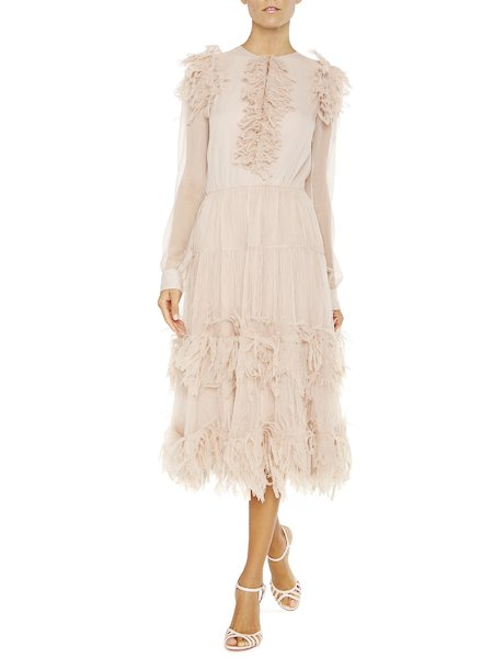 Long-sleeved dress with feathers