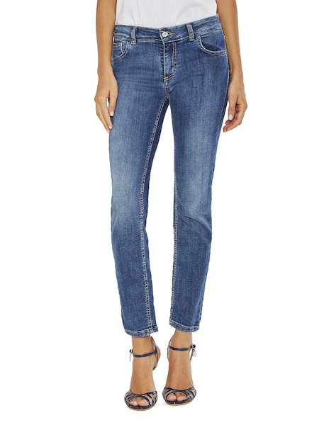 Slim-Fit-Jeans mit Strass