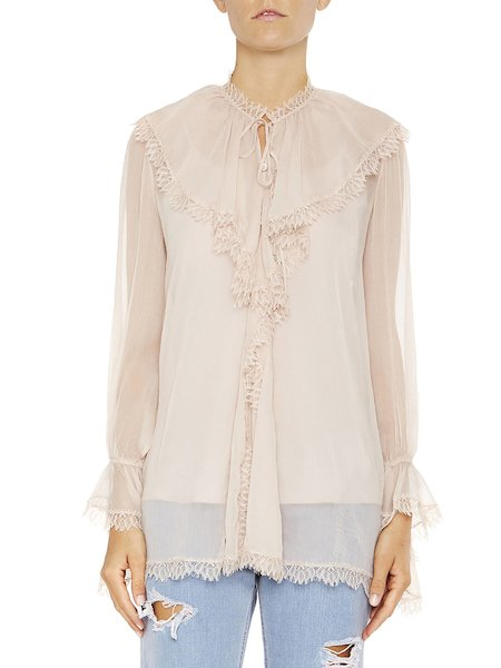 Shirt with ruffles and lace