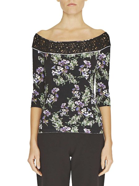 Anemone print top with lace