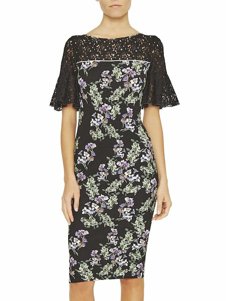 Anemone print dress with lace