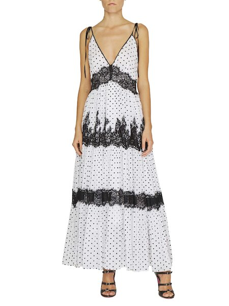 Polka dot maxi dress with lace