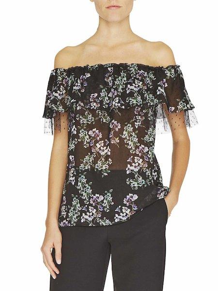 Bluse mit Anemonen-Print und Tüll
