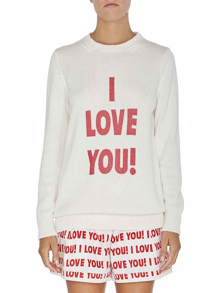 Pull à imprimé « I love you »