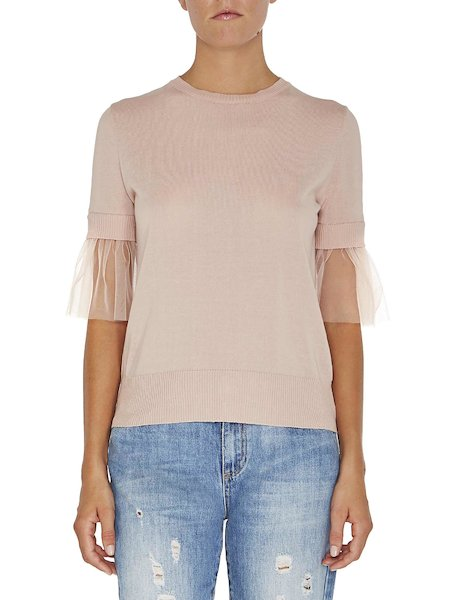 Short-sleeved tulle jumper