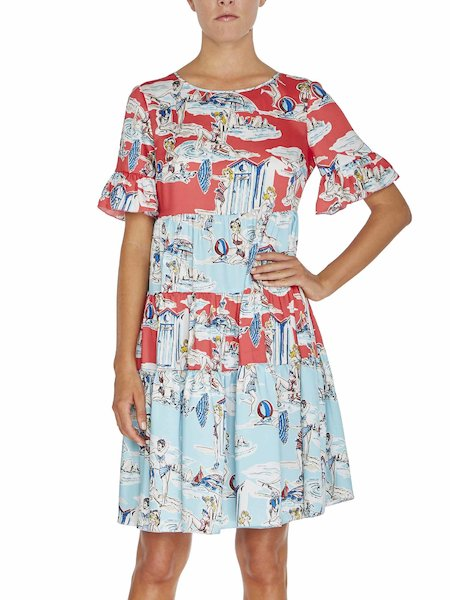 Bedrucktes Kleid mit Volants