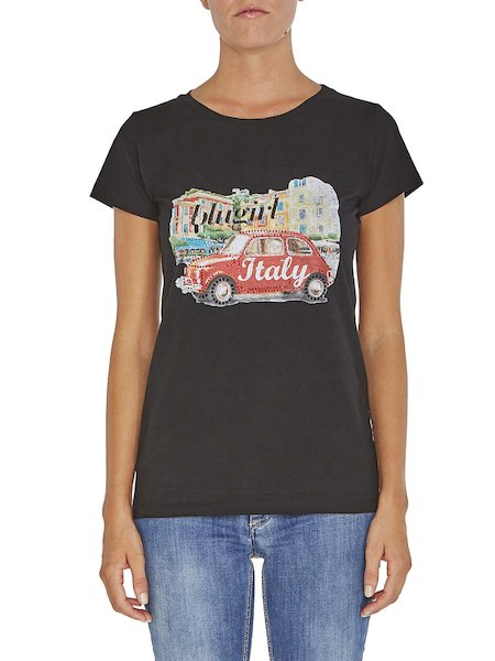 Printed T-shirt with rhinestones