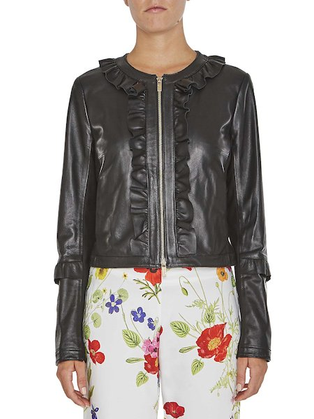 Leather jacket with ruching