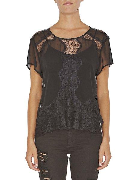 Блузка с короткими рукавами и кружевной отделкой